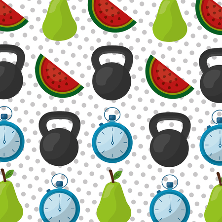 healthy lifestyle dumbbell chronometer pear and watermelon vector illustration Archivio Fotografico - 97727187