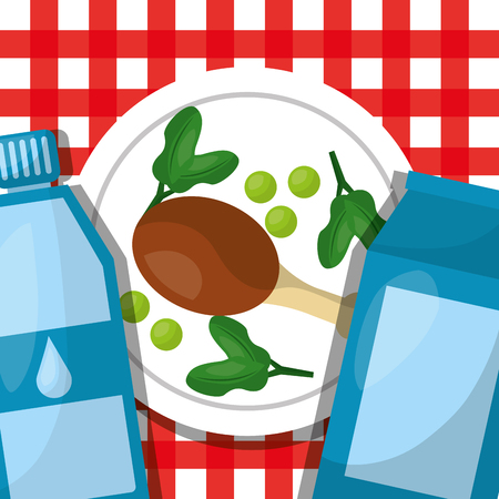 chicken leg in dish with bottle water healthy lifestyle vector illustration