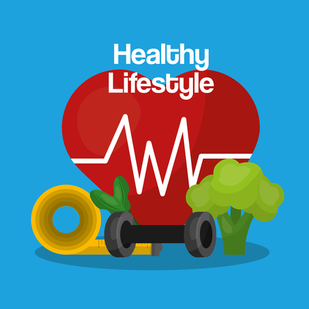 healthy lifestyle heart rate weight sport measure tape and broccoli vector illustration