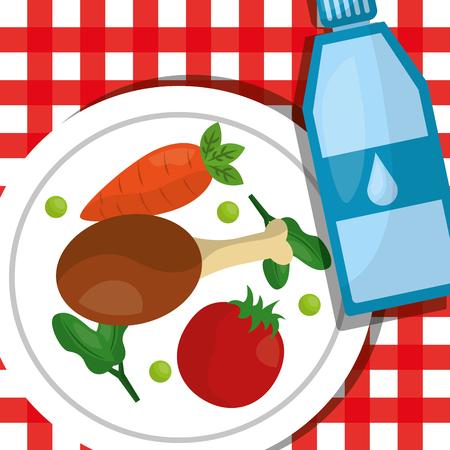 Pierna de pollo tomate zanahoria en el plato estilo de vida saludable ilustración vectorial Foto de archivo - 97727193