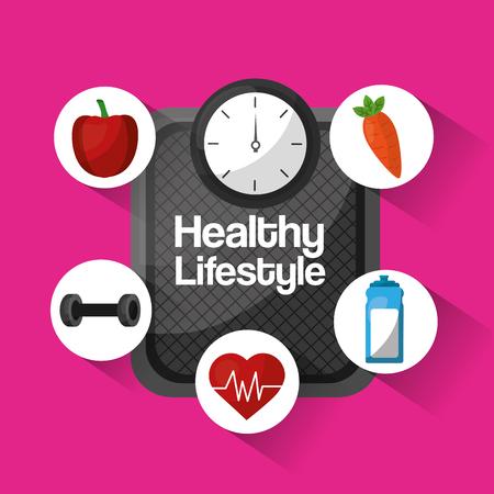 healthy lifestyle activity sport food nutrition vector illustration
