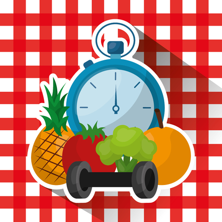 healthy lifestyle diet fitness on checkered tablecloth vector illustration Stock fotó - 97727199
