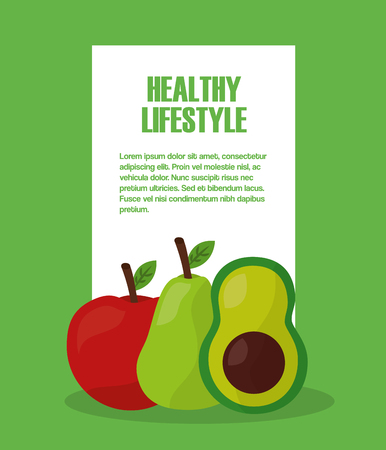 healthy lifestyle apple pear and avocado vector illustration