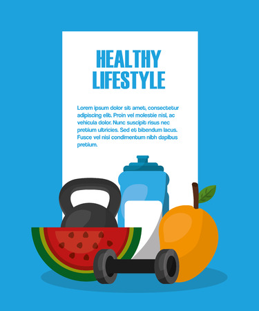 healthy lifestyle fruits and gym tools vector illustration