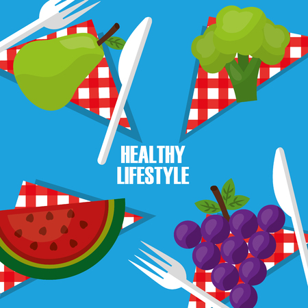 healthy lifestyle fruits on table napkin fork knife vector illustration Illusztráció