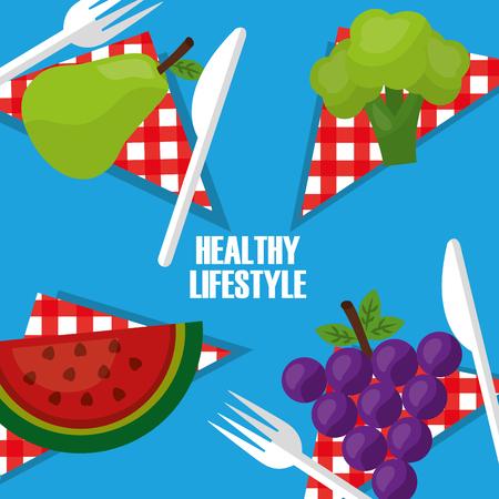 healthy lifestyle fruits on table napkin fork knife vector illustration Illustration