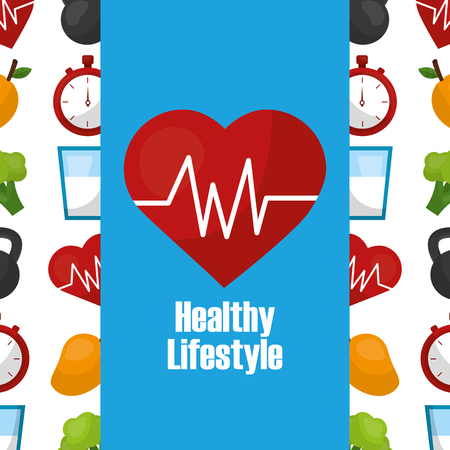 healthy lifestyle heart rate cardio care vector illustration