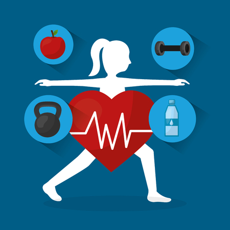 woman sport stretch fitness heart rate healthy lifestyle vector illustration Illustration