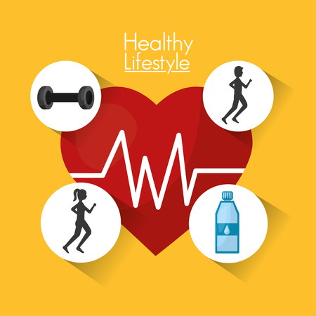 heart rate fitness weight sport healthy lifestyle vector illustration Illustration