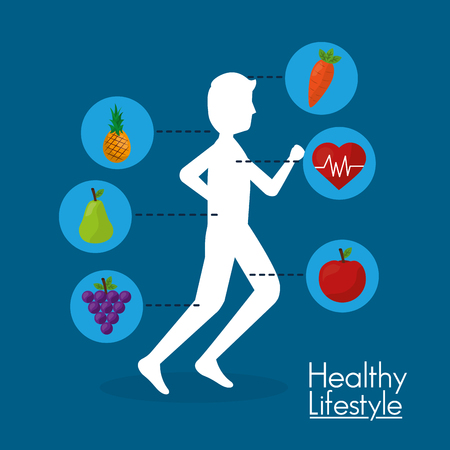 silhouette man running and nutrition diet healthy lifestyle vector illustration Stock Illustratie