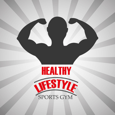 healthy lifestyle sports gym man bodybuilding vector illustration