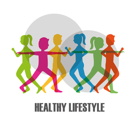 colored silhouette people making exercise healthy lifestyle vector illustration