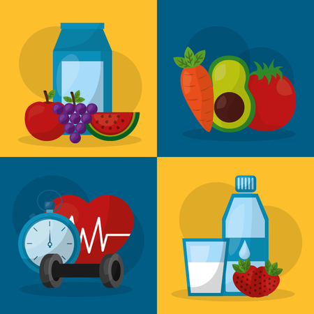 healthy lifestyle set fitness sport fruit vegetables vector illustration
