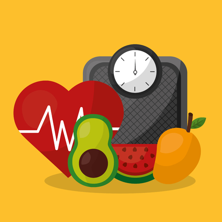 weight scale heart rate avocado mango and watermelon healthy lifestyle vector illustration