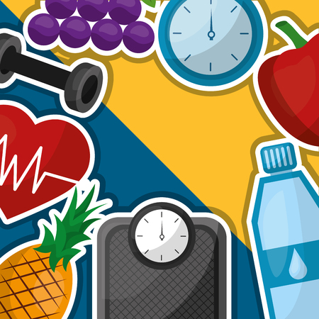 healthy lifestyle background heart barbell fruit bottle water vector illustration