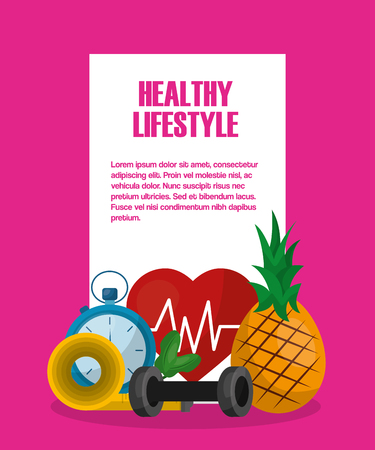 healthy lifestyle food diet fitness activity heart rate vector illustration