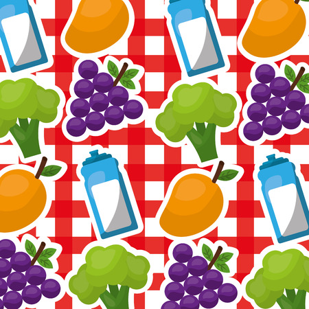healthy lifestyle grape broccoli mango bottle water on tablecloth vector illustration