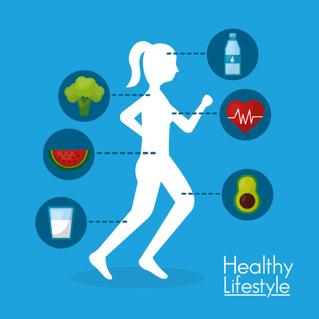 silhouette woman runner food healthy lifestyle vector illustration