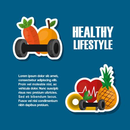 healthy lifestyle poster fruits nutrition vitamins sport vector illustration Ilustracja