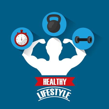 healthy lifestyle man bodybuilding barbell dumbbell timer vector illustration Banque d'images - 97739508