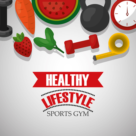 healthy lifestyle sports gym fruits nutrition vector illustration