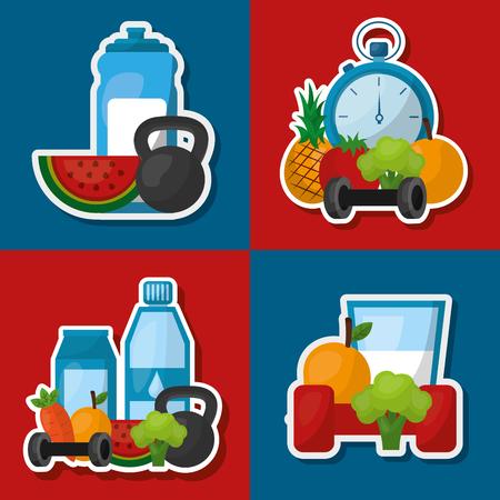 healthy lifestyle set fitness sport fruit vegetables vector illustration