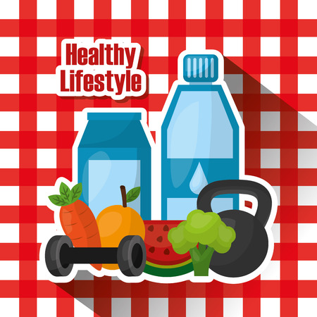 bottle water vitamns fruit broccoli weight gym healthy lifestyle checkered tablecloth vector illustration Illustration