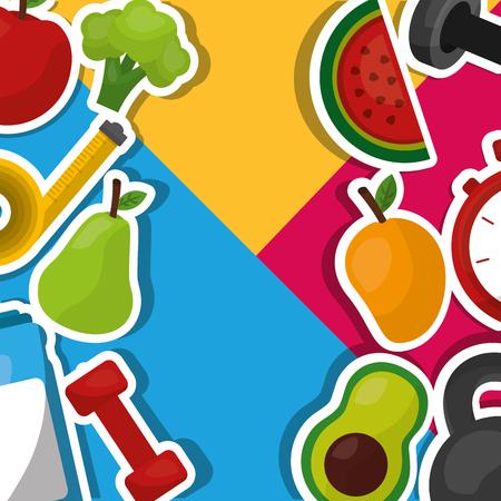 healthy lifestyle fitness sport fruits vegetables background vector illustration
