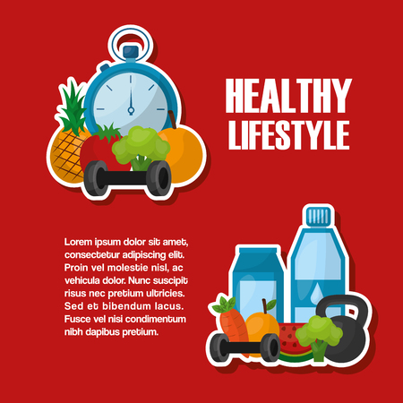 healthy lifestyle active sport nutriton food vector illustration