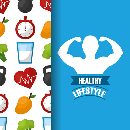 healthy lifestyle strong man fitness vector illustration