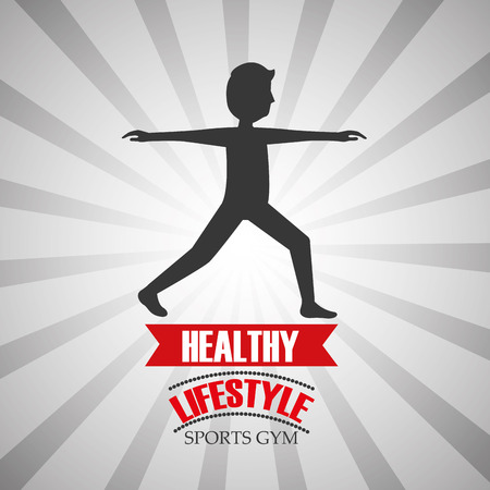 healthy lifestyle fitness man sports gym vector illustration