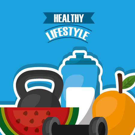 healthy lifestyle banner weight sport fitness watermelon and mango vector illustration