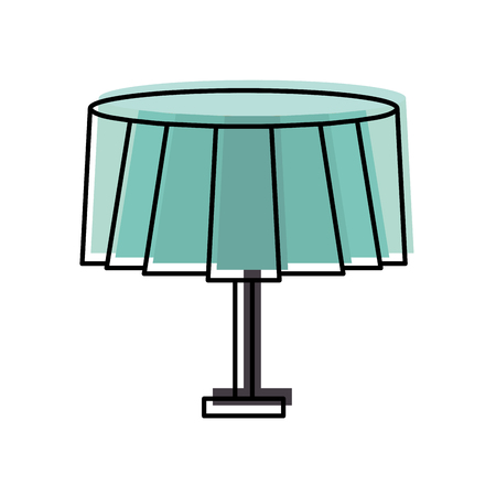 round table with tablecloth furniture restaurant vector illustration Illusztráció