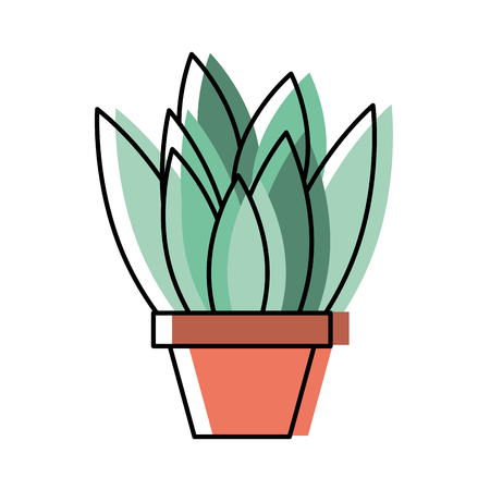 potted plant leaves interior decoration vector illustration