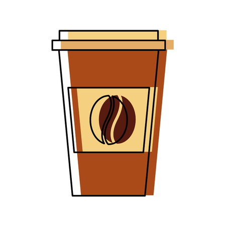 disposable coffee cup icon with coffee bean takeaway vector illustration Фото со стока - 97753845