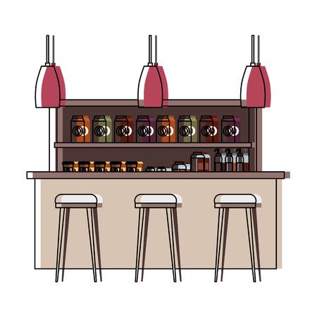 Café produits intérieurs étagères comptoir lampes vector illustration Banque d'images - 97753847