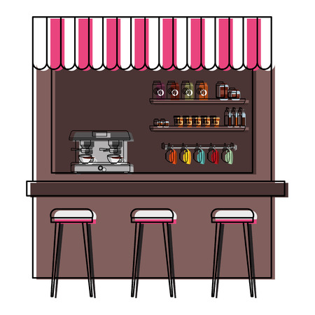 coffee shop machine espresso stools and shelf vector illustration