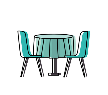 furniture restaurant pair chair and round table vector illustration Banco de Imagens