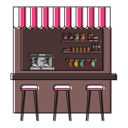 coffee shop machine espresso stools and shelf vector illustration