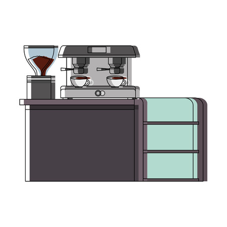 bar counter machine make coffee espresso vector illustration