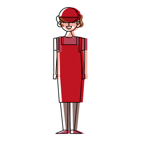 Female barista standing wearing apron and cap vector illustration