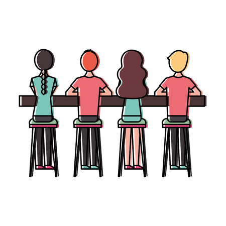 group people sitting on stool viewed from the back vector illustration