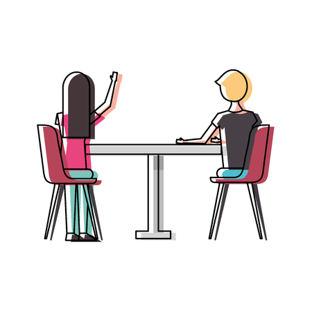 couple sitting on the chairs and table at view from the back vector illustration