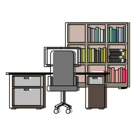 Workspace office desk pc armchair bookshelf books vector illustration Illustration