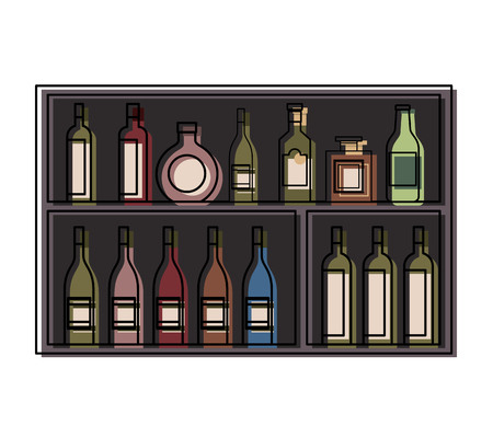Shelving furniture with different glass bottles beverages alcohol vector illustration