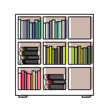 Estantería y enciclopedia de libros leer ilustración vectorial Foto de archivo - 97849261