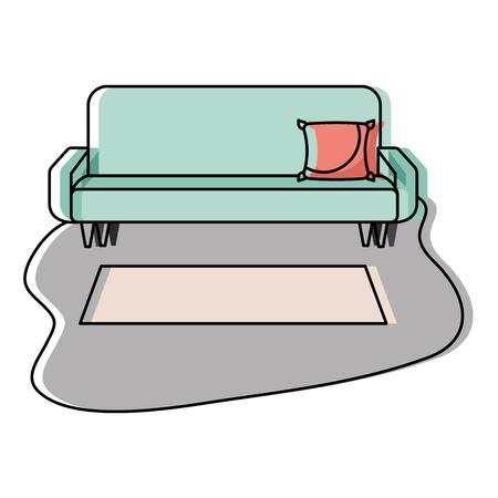 living room sofa cushion carpet furniture decoration interior vector illustration Ilustração