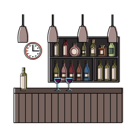 Bar restaurant interior shelf counter beverage alcohol and glass cups vector illustration