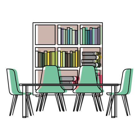 library with bookshelves and desk with chairs vector illustration