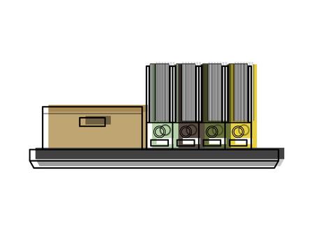 Office shelf carton box and folder files vector illustration